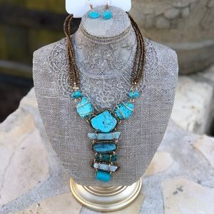 NWT long turquoise necklace and earring set